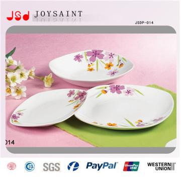 Simple Flower Design Square Dinner Set in Porcelain for Home Use