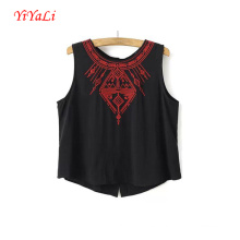 Summer Fashion Women Girl Clothes negro sin mangas Tank Top