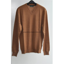 100% Wool V-neck Knit Pullover Men Sweater