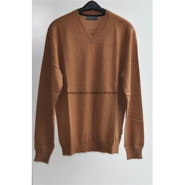100% lã pescoço V-neck sweater homens suéter