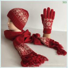 Hacer Rojo Invierno Otoño Moda Caliente Nueva Máquina Del Círculo Jacquard De Lana De Acrílico Hecho Sombrero De Sombrero Guantes Juegos De Bufanda