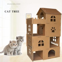Cardboard Cat climbling Tree
