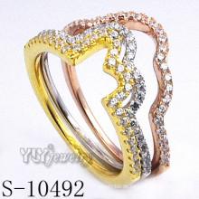 925 Silber Zirkonia Schmuck mit Frauen Kombination Ring (S-10492)