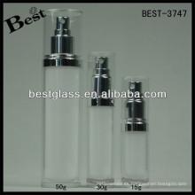 BEST-3747 / botella de loción / tarro acrílico de forma redonda recta, pmma, abs, as, 15/30/45/70/50/120/228 / ml botella cosmética