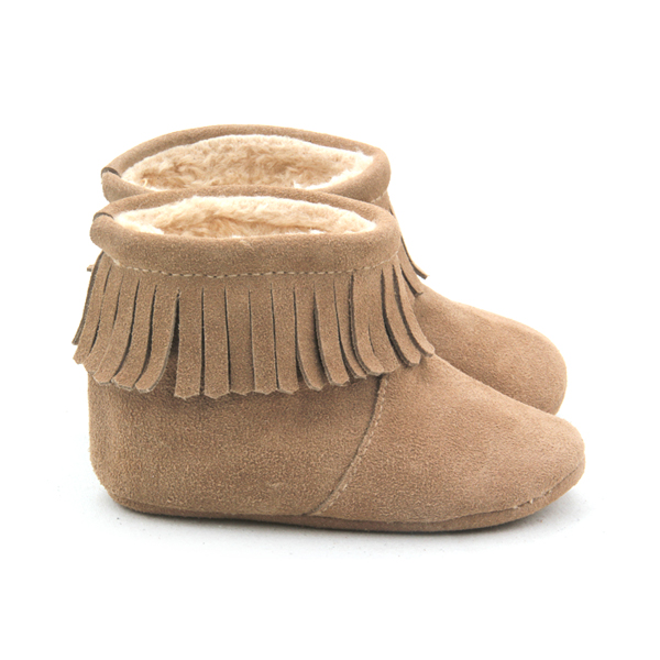 Genuine Suede Leather Unisex Baby Moccasins Boots