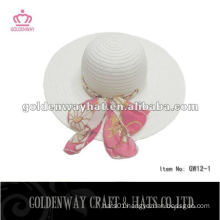Fashion Ladies White Floppy Paper Straw Hat summer beach hats