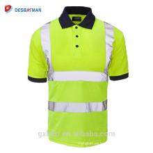 ANSI / ISEA 107 clase 2 personalizada 100% poliester de seguridad Polo reflectante de manga corta alta visibilidad Hola Vis trabajo seguridad camiseta