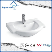 Semi-Recessed Bathroom Ceramic Cabinet Basin Hand Washing Sink (ACB8255)