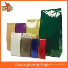 China proveedor de material de embalaje plástico gusset laterales bolsas de té de café con su diseño