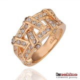 Fashion Round CZ Crystal 18k Gold Plated Wedding Ring (Ri-HQ0125)