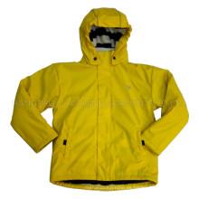 Sólido limón con capucha chaqueta/chubasquero de lluvia