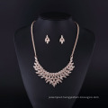 Fashion Rhinestone Gold Plated American Angel Wings Necklace Set for Lady
