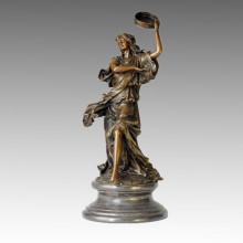 Estatua de bailarín femenino y escultura de bronce de tambor TPE-002