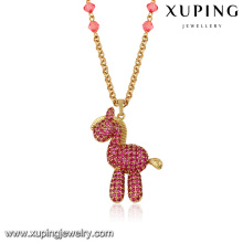 43302 Xuping  latest fashion design 18k delicate lovely garnet diamond gold horse gold plated jewelry necklace
