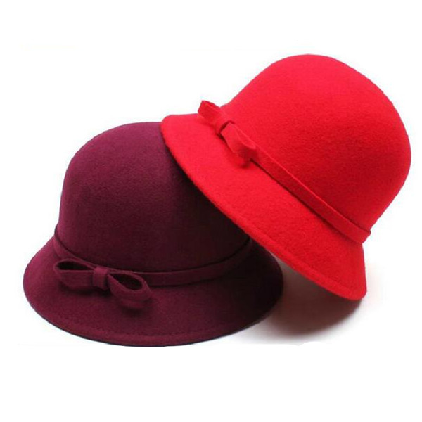 Fashion Red Fedora Hat With Bowtie