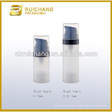 Bouteille sans air 10 ml / 15 ml, bouteille plastique plastique sans pompe, bouteille de pompe sans air cosmétique