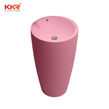 colorful solid surface stone pink freestanding washbasin