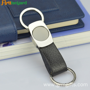 Black Leather Keychain With Customized Size