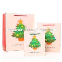 Melhor para você desenho de árvore de natal de desenhos animados saco de presente de embalagem branca