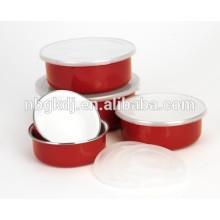 5 conjuntos de tigelas de comida de esmalte com tampas de PE e decalques vermelhos