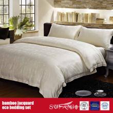 Bamboo Fiber Jacquard Bed Linen Set Folhas Hotel Coleção