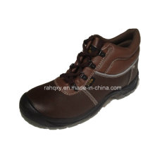 Professional Coffee Leather MID-Cut Safety Shoe (HQ1317)