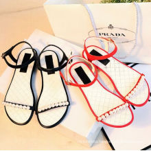 beautiful 2016 new flat leather sandals for women lady shoes