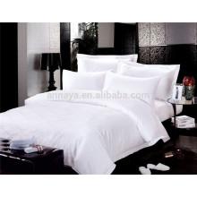 Hotel de lujo de 5 estrellas Set de sábanas Jacquard o blanco liso 200T 300T 400T