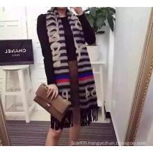 Stripe Jacquard Print Fleece Scarf