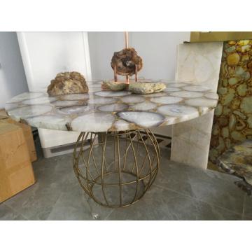 Semi Precious white agate round table