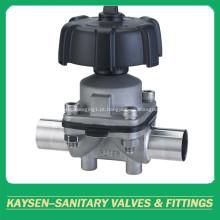 Válvulas de diafragma manual sanitárias volante plástico da extremidade da solda