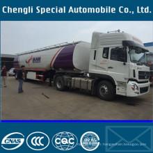 Semi remorque de camion de réservoir de transport de carburant d'essence diesel en aluminium
