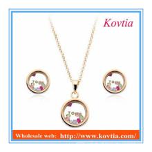 Novo estilo simples estilo strass colar conjunto de jóias brinco