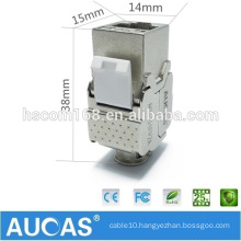 High Speed Aucas Brand 10 Gigabit Network Tool-less Shielded Cat6 Keystone Jack RJ45 Module