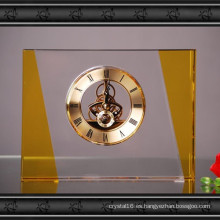 Reloj rectangular de cristal de reloj artesanal para la decoración del hogar