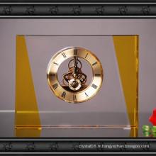 Artisanat rectangulaire en verre d'horloge en verre pour la décoration à la maison