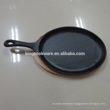 Cast Iron Sizzling Steak Pan /hot plate With Wooden Board