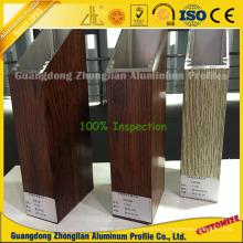 Perfil de marco de aluminio de grano de madera para decoración de ventana y puerta