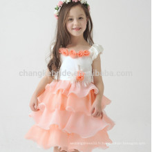 2016 Cute A Line Ivory Peach Pageant Robe fille fleur Little Cake Kids Dress