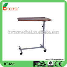 manual adjustable hospital bed over bed table