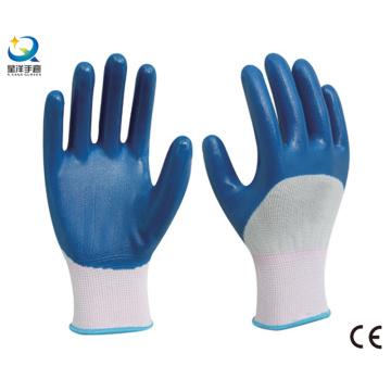 13G Нитриловая белая полиэфирная оболочка, синий нитрил 3/4 с покрытием, рабочая перчатка (N6040)