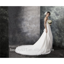 Sheath Strapless Court Train Lace-Up Chiffon Embroidery Lace Crystal Wedding Dress AS29302