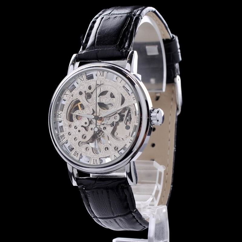 genuine leather name brand mens hand wrist watch