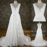 2017 sexy low cut back gorgeous lace high waist short train wedding dress