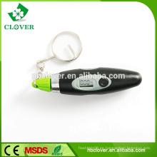 Medidor de presión digital de neumáticos de la forma de la pluma con llavero