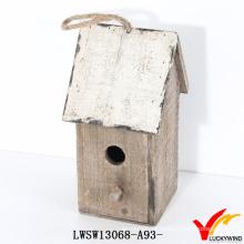 Fazenda, corda, penduradas, pequeno, recicle, madeira, artesanato, pássaro, casa