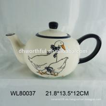 Pot de té de cerámica de diseño popular con la calcomanía de pato