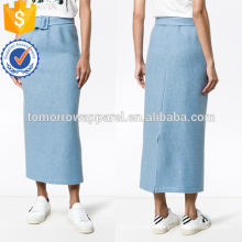 Hot Sale Long Belted Blue Wool Autumn Skirt Manufacture Wholesale Fashion Women Apparel (TA0027S)