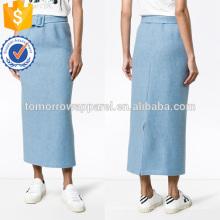 Venda quente Longo Cintado De Lã Azul Saia Outono Fabricação Atacado Moda Feminina Vestuário (TA0027S)