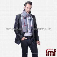 Men's Trendy Cross Stripes Warm Winter Neck Cover Scarf Wraps 100% Wool